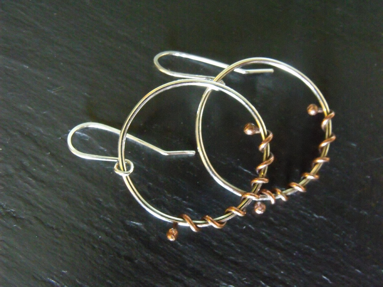 Sterling Hoops with Copper Balls