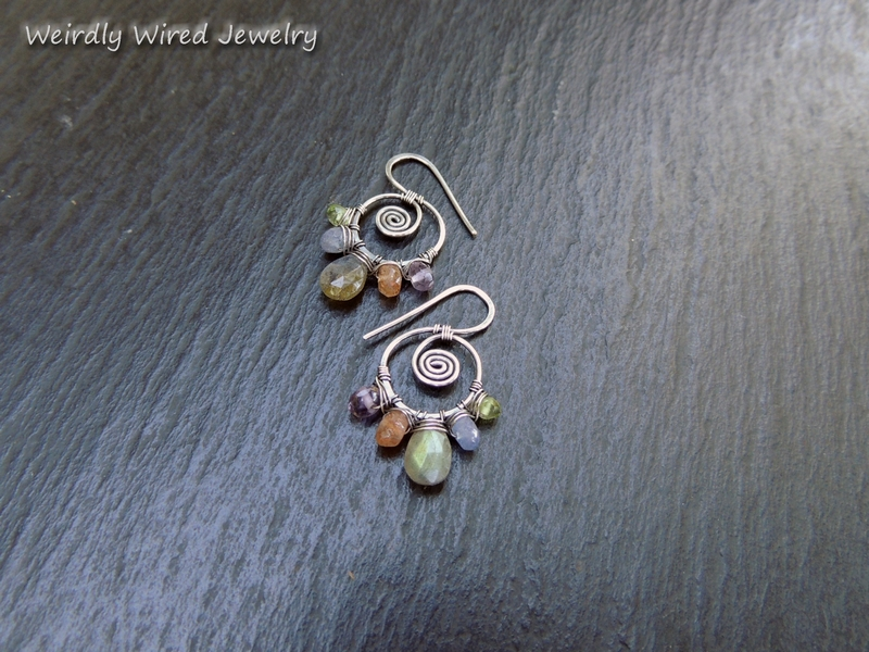 2 Multi-Gemstone SS Earrings