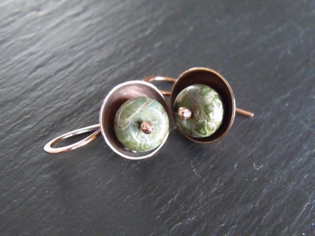 Jasper and Copper Cup Earrings