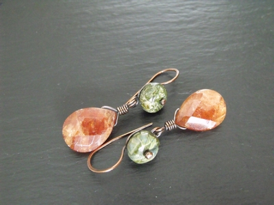 African Jasper and Hessonite Earrings