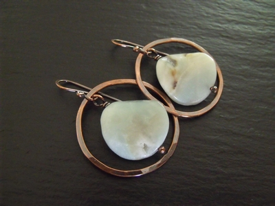 Amazonite and Copper Hoop Earrings