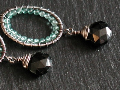Apatite and Black Spinel Earrings