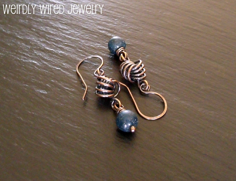 Apatite Copper Love Knot Earrings