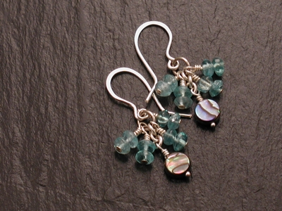 Apatite and Paua Earrings