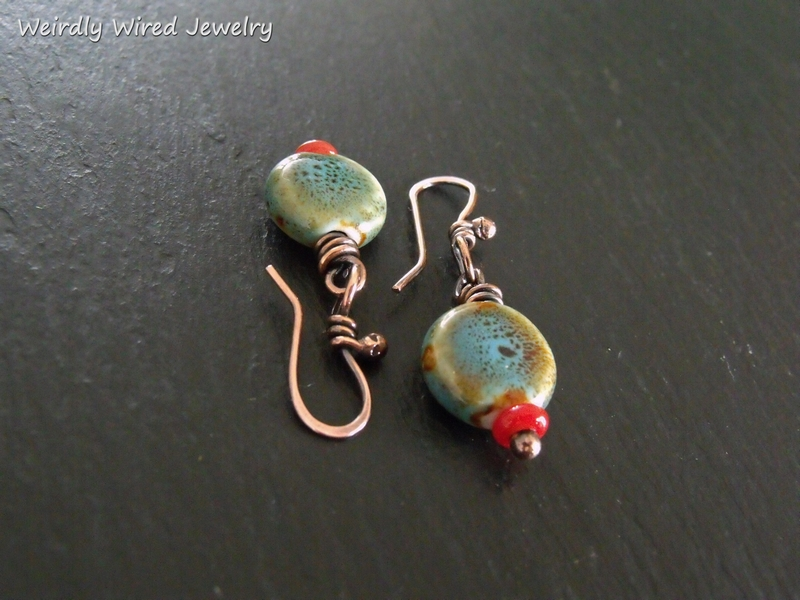 Aqua Greek Porcelain Earrings