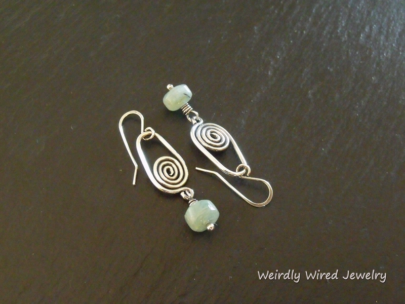 Aquamarine SS Spiral Earrings