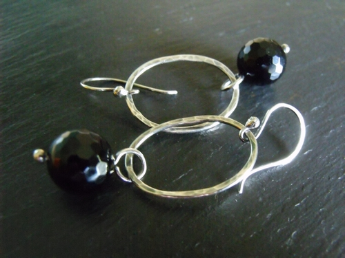 Black Onyx and Oval Hoop Earrings