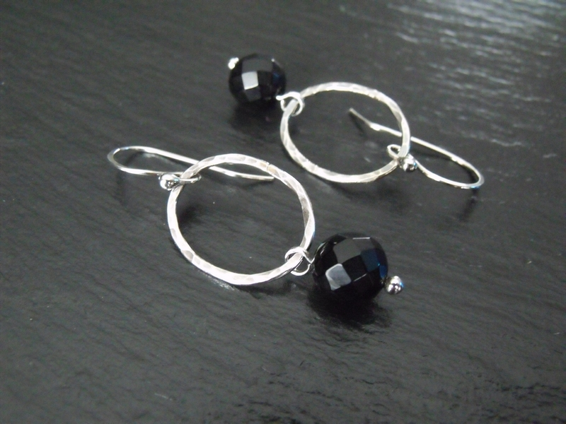 Black Onyx Oval Hoop Earrings