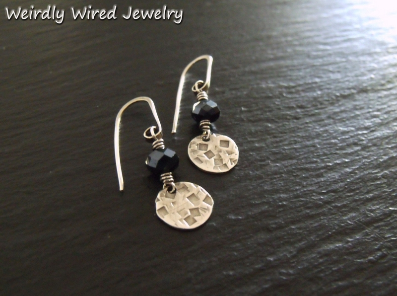 Black Stone Silver Disc Earrings