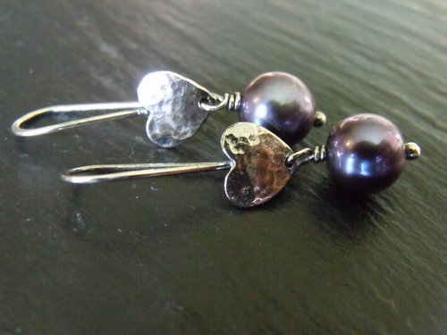 Peacock Pearl Heart Earrings