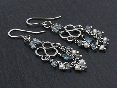 Blue Topaz and Fresh Water Pearl Chandelier Earrings