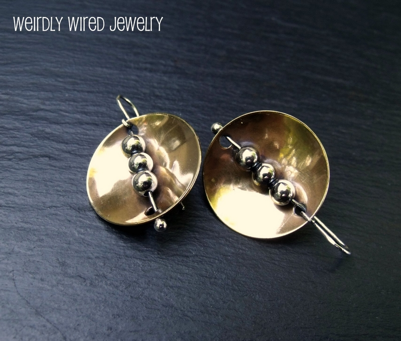 Brass Disc and Sterling Balls Earrings