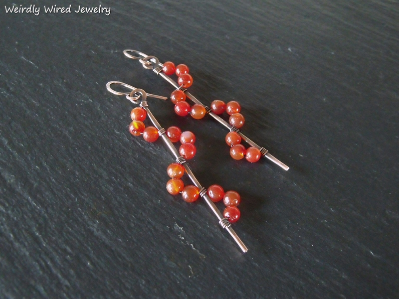 Carnelian Copper Wave Earrings