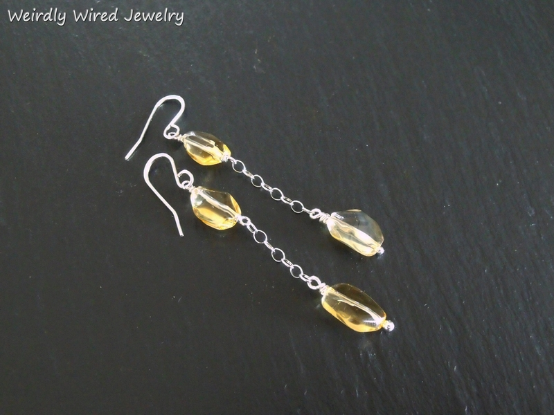 Citrine SS Chain Earrings
