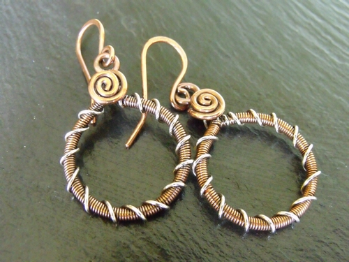 Coiled Copper Hoops with Sterling Accent