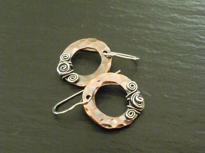 Copper Washer SS Rose Earrings