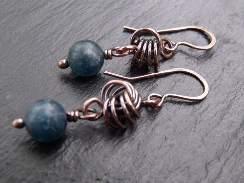 Copper Love Knot Apatite Earrings