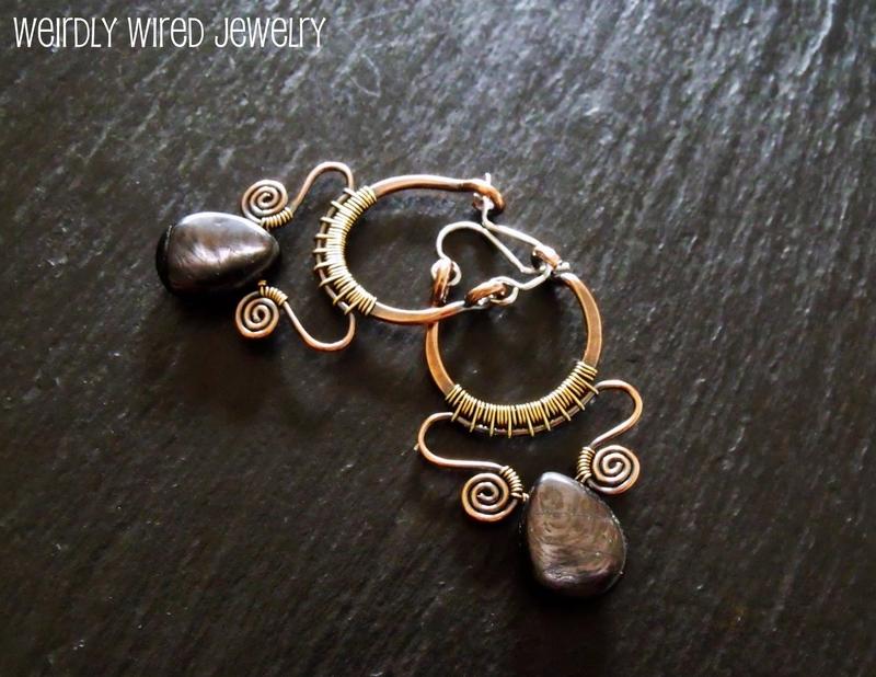 Copper, Brass and Hypersthene Earrings 2