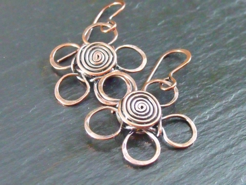 Copper Daisy Earrings