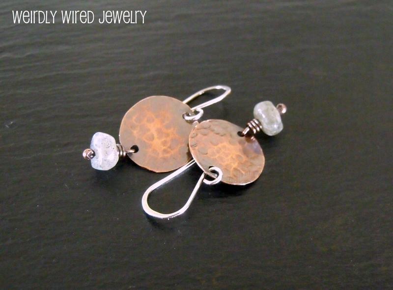 Copper Disc Labradorite Earrings