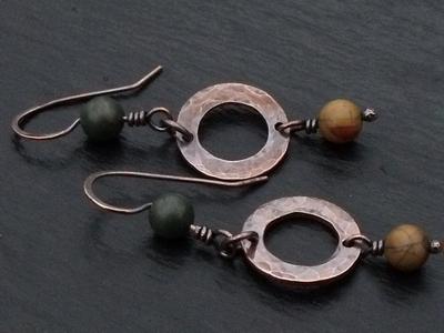 Picasso Jasper Copper Hoop Earrings