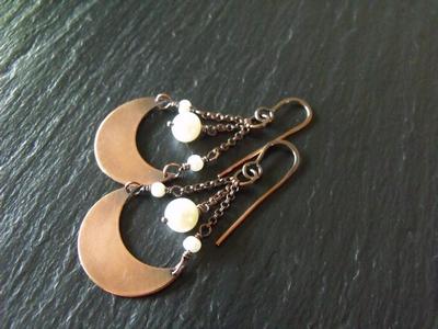 Copper and Pearl Swingin Earrings