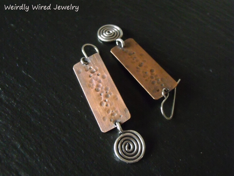 Copper Rectangle SS Spiral Center Dots