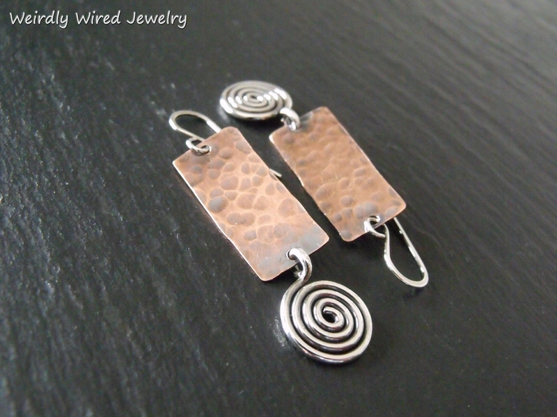 Copper Rectangle Sterling Spiral Earrings