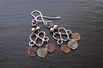 Copper and Sterling Chandelier Earrings