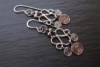 Copper and Sterling Chandelier Earrings-2