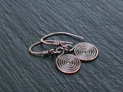 Copper Spiral Dangle Earrings