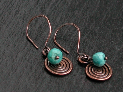 Copper Spiral Turquoise Earrings