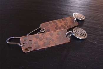 Copper Column Silver Spiral Earrings