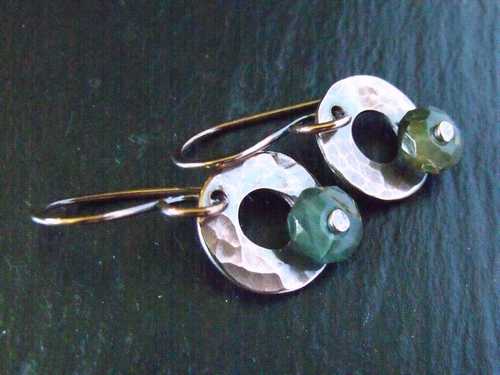 Copper and Tsavorite Riveted Earrings