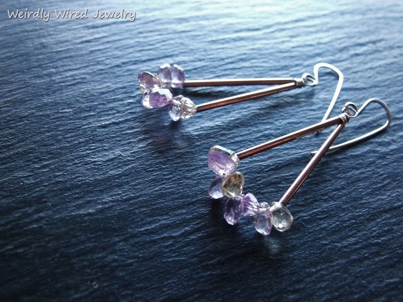 Copper Tube Ametrine Swing Earrings