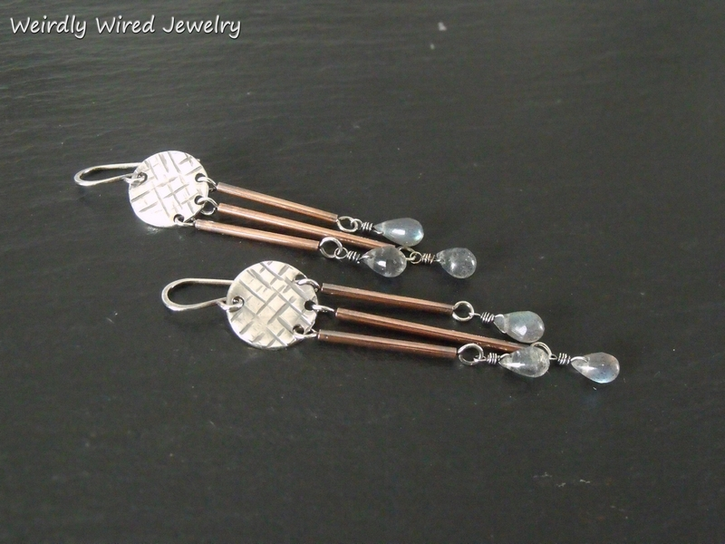 Copper Tube Sterling Disc Labradorite Earrings