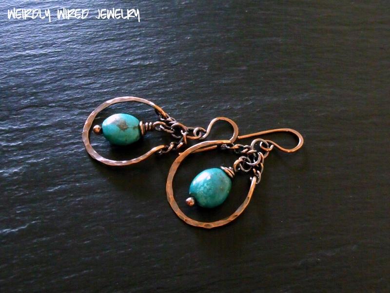 Copper Turquoise Swing Earrings