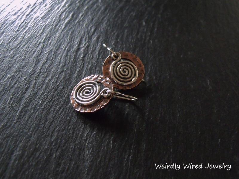 Copper Washer, Silver Spiral, Square Stamp