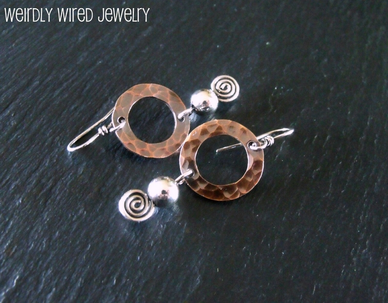 Copper Washer Hoop, Sterling Ball on Spiral