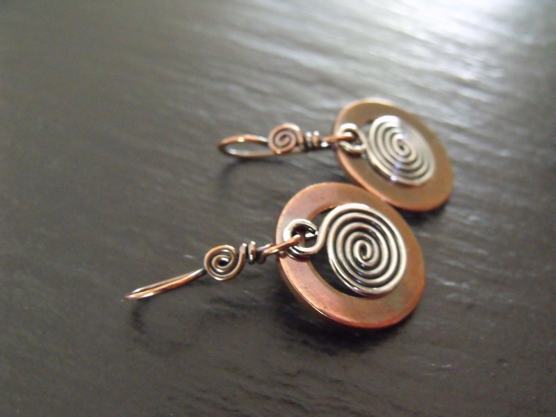 Copper Washer Sterling Spiral Earrings