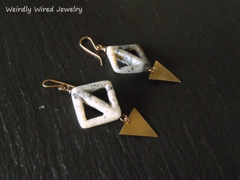 Cut Out Jasper Triangle Brass Earrings