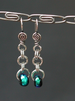 Dichroic Ring Earrings