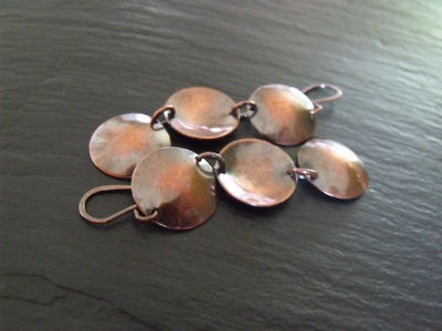 Dips and Domes Copper Earrings
