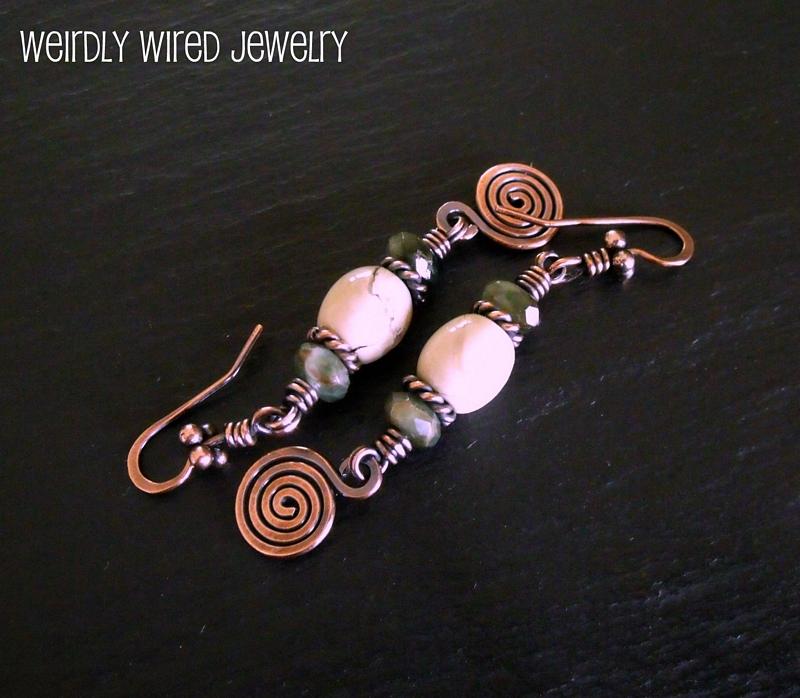 African Opal and Tsavorite Copper Earrings