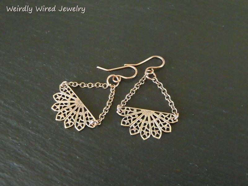 Brass Filigree Fan Chandelier Earrings
