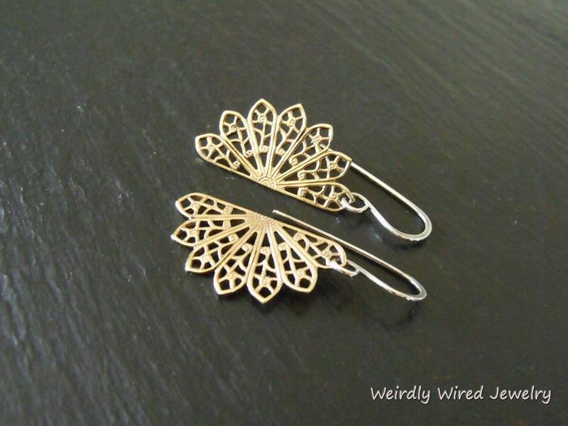Brass Filigree Fan Earrings