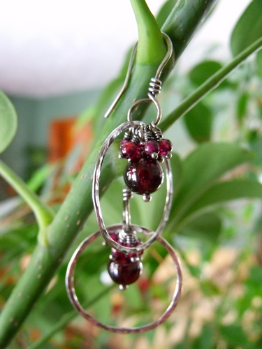 Garnet Cluster Hoop Earrings