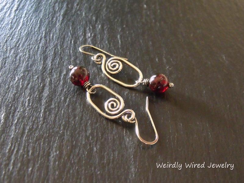 Garnet Sterling Spiral Earrings