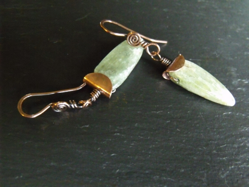 Green Kyanite Copper Earrings