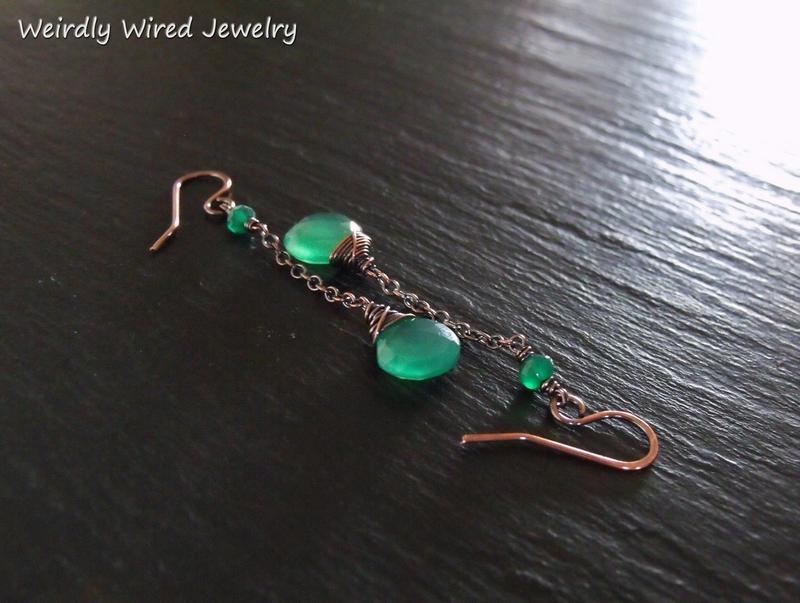 Green Onyx Copper Chain Earrings